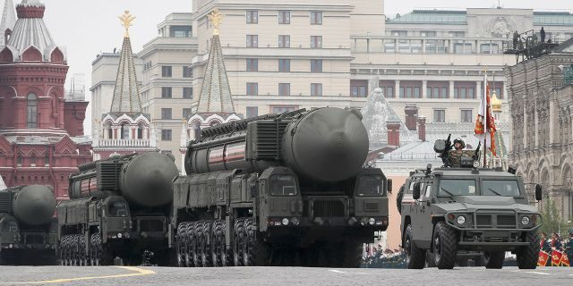 Russian servicemen drive Yars RS-24 intercontinental ballistic missile systems during the Victory Day parade, which marks the anniversary of the victory over Nazi Germany in World War Two, in Red Square in central Moscow, Russia, in May.