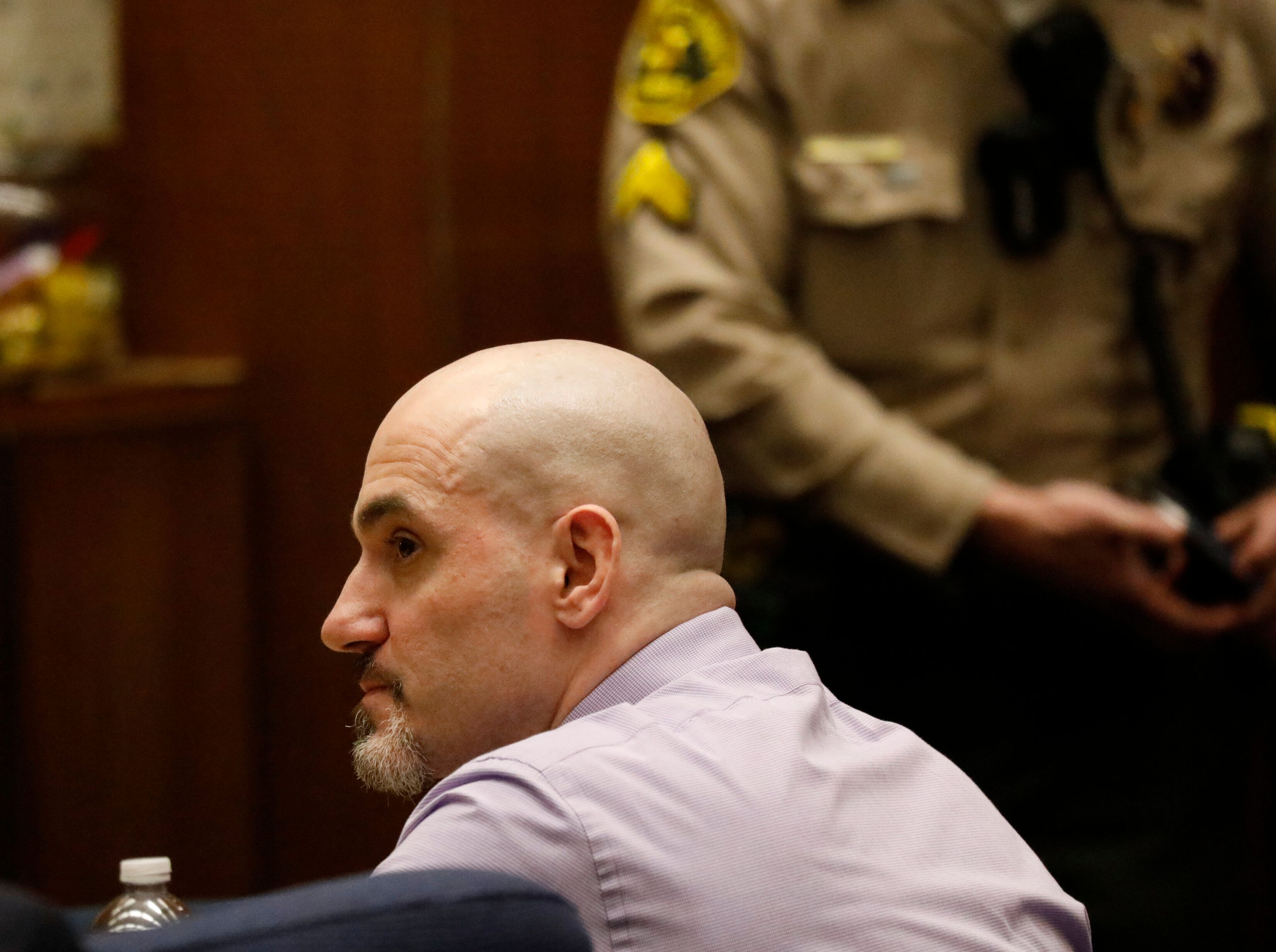 Michael Gargiulo, listens to his defense attorney Daniel Nardoni's opening statement in Los Angeles Superior Court at his tri
