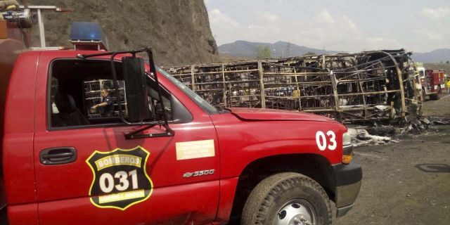 Firefighterswork at the site of a deadly road accident between a bus and a semi-trailer, on a mountain road in Veracruz state, Mexico, on Wednesday. (Civil Protection Office of Veracruz via AP)