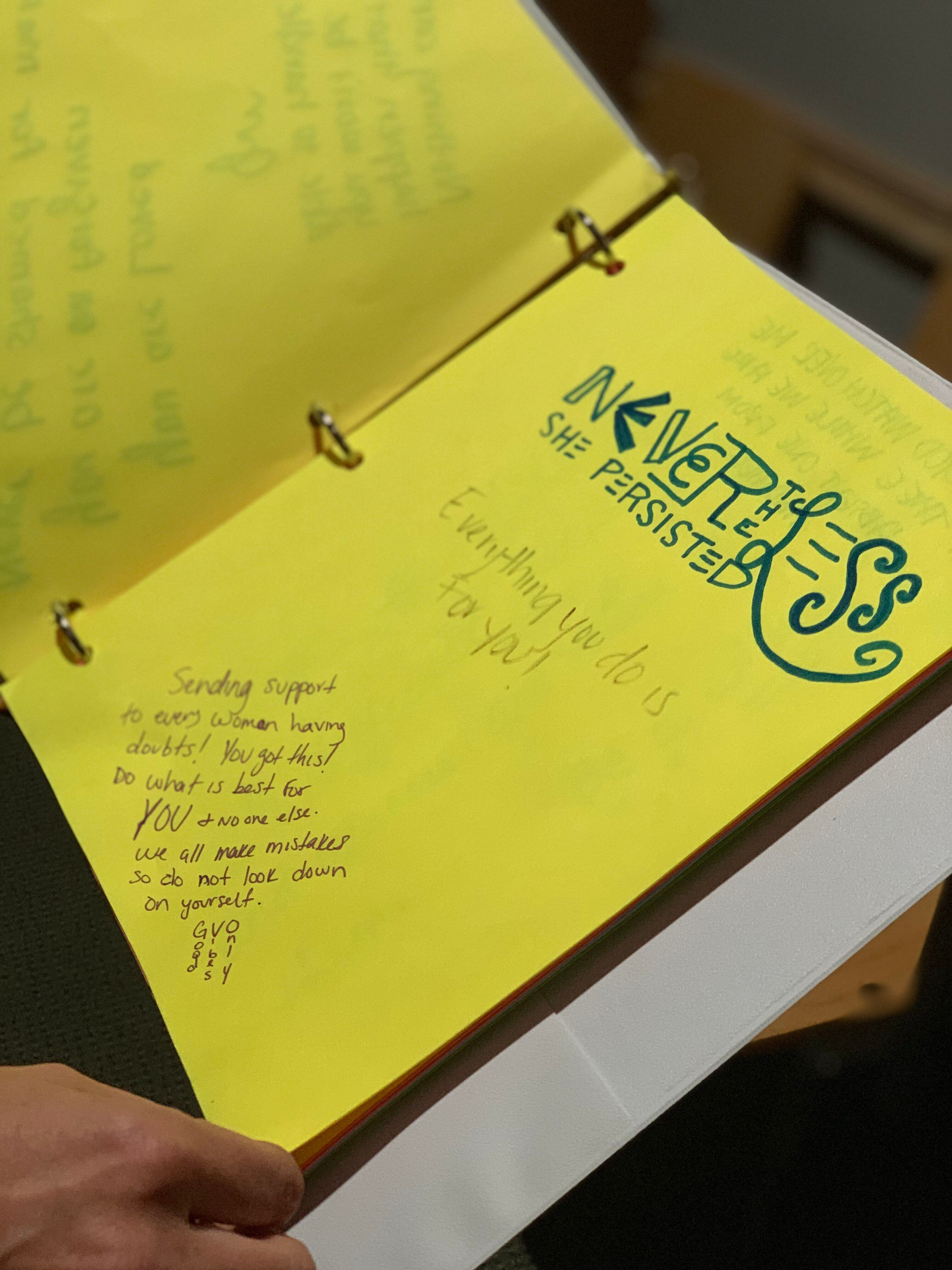 Notes written by women who are obtaining abortions at the Hope Clinic for Women in Illinois.