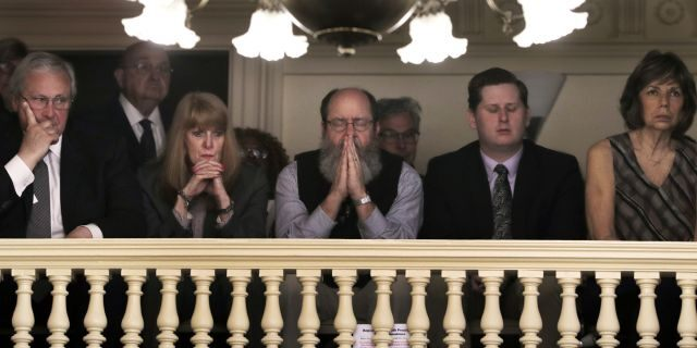 Spectators watch the debate over repealing capital punishment at the state Capitol in Concord, N.H. (AP Photo/Charles Krupa)