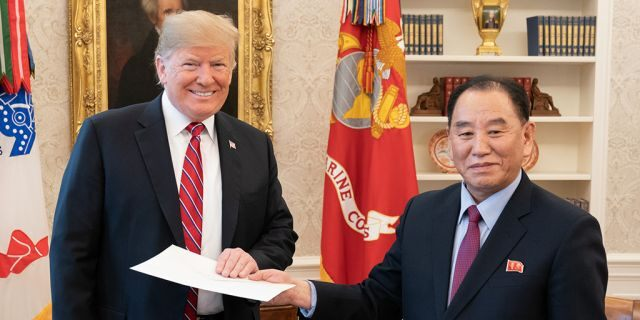 President Trump meeting with Kim Yong Chol this past January 18 in the Oval Office. (Official White House Photo by Shealah Craighead, File)