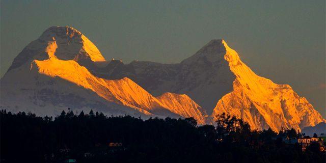 Nanda Devi's twin peaks seen from Chaukori in Uttarakhand, India.