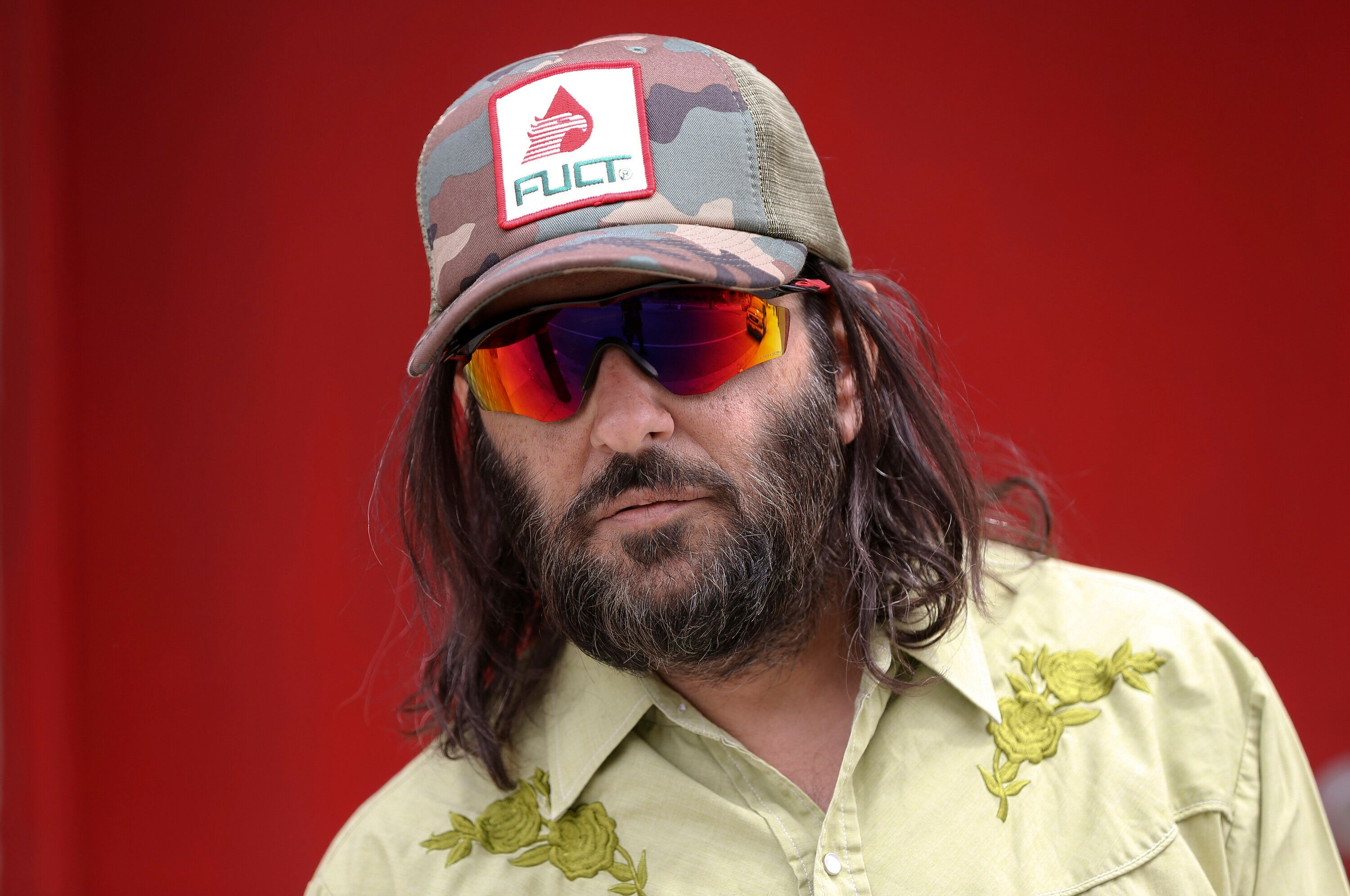 "In this April 11, 2019 file photo, Los Angeles artist Erik Brunetti, the founder of the streetwear clothing company ""FUCT,"" p"