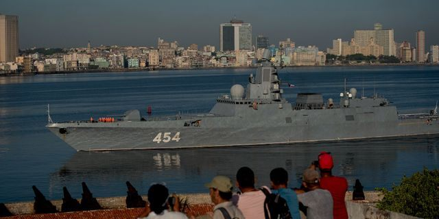 Russian Navy Admiral Gorshkov frigate arrives at the port of Havana, Cuba, on Monday. (AP)