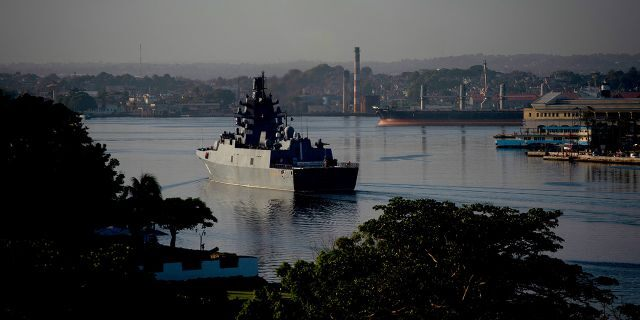 Russian Navy Admiral Gorshkov frigate arrives at the port of Havana, Cuba, Monday, June 24, 2019. (AP Photo/Ramon Espinosa)