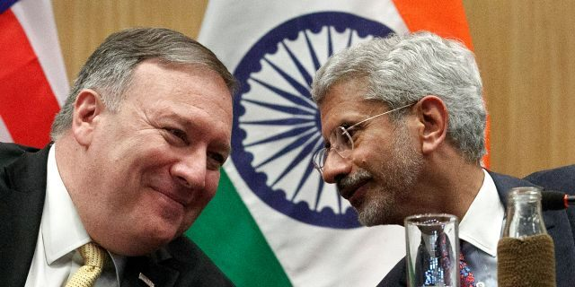 Secretary of State Mike Pompeo, left, listening to Indian Foreign Minister Subrahmanyam Jaishankar during a news conference at the Foreign Ministry in New Delhi, India, on Wednesday. (AP Photo/Jacquelyn Martin, Pool)
