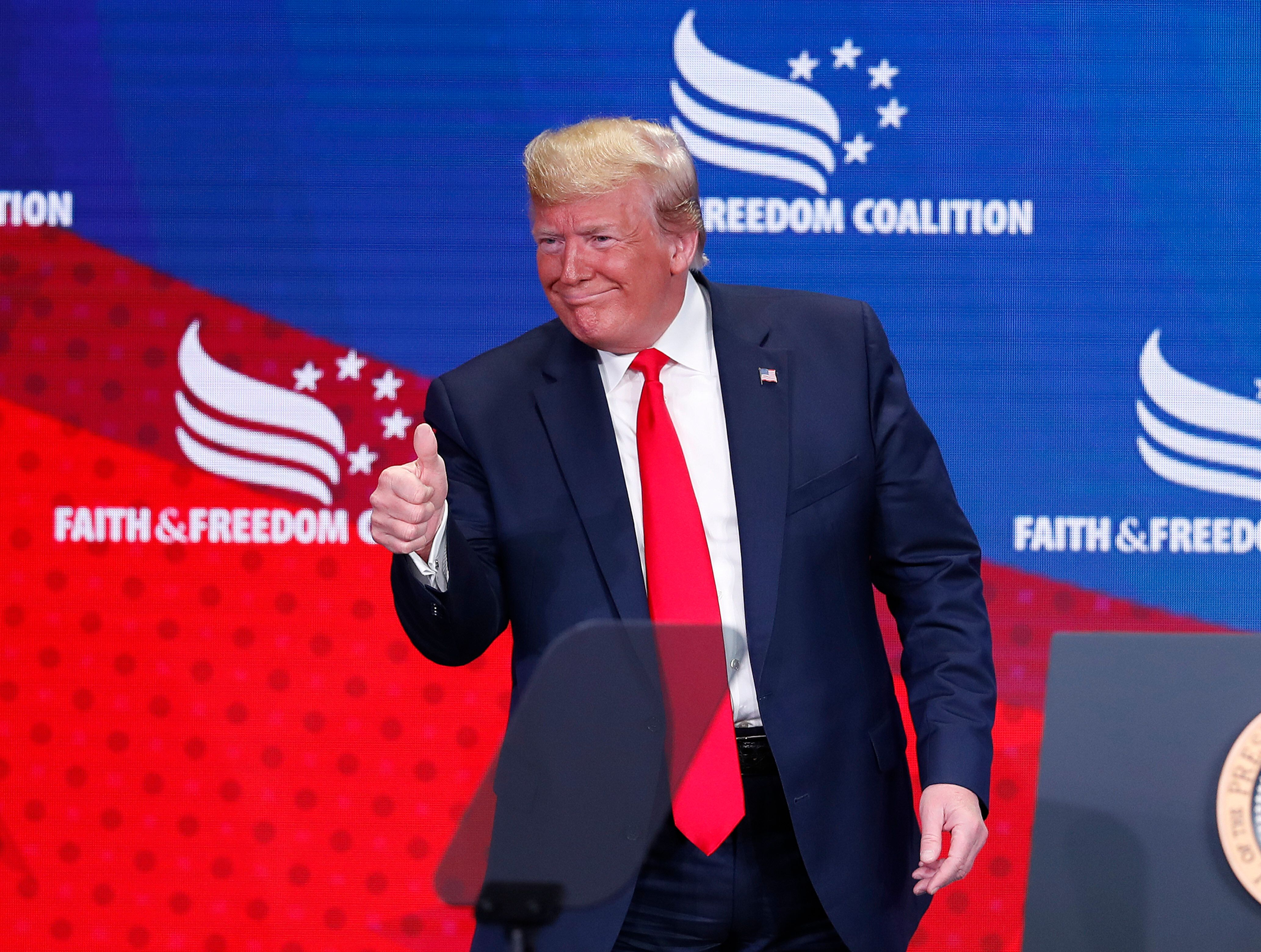 President Donald Trump gestures after speaking at the Faith & Freedom Coalition conference in Washington, Wednesday, June