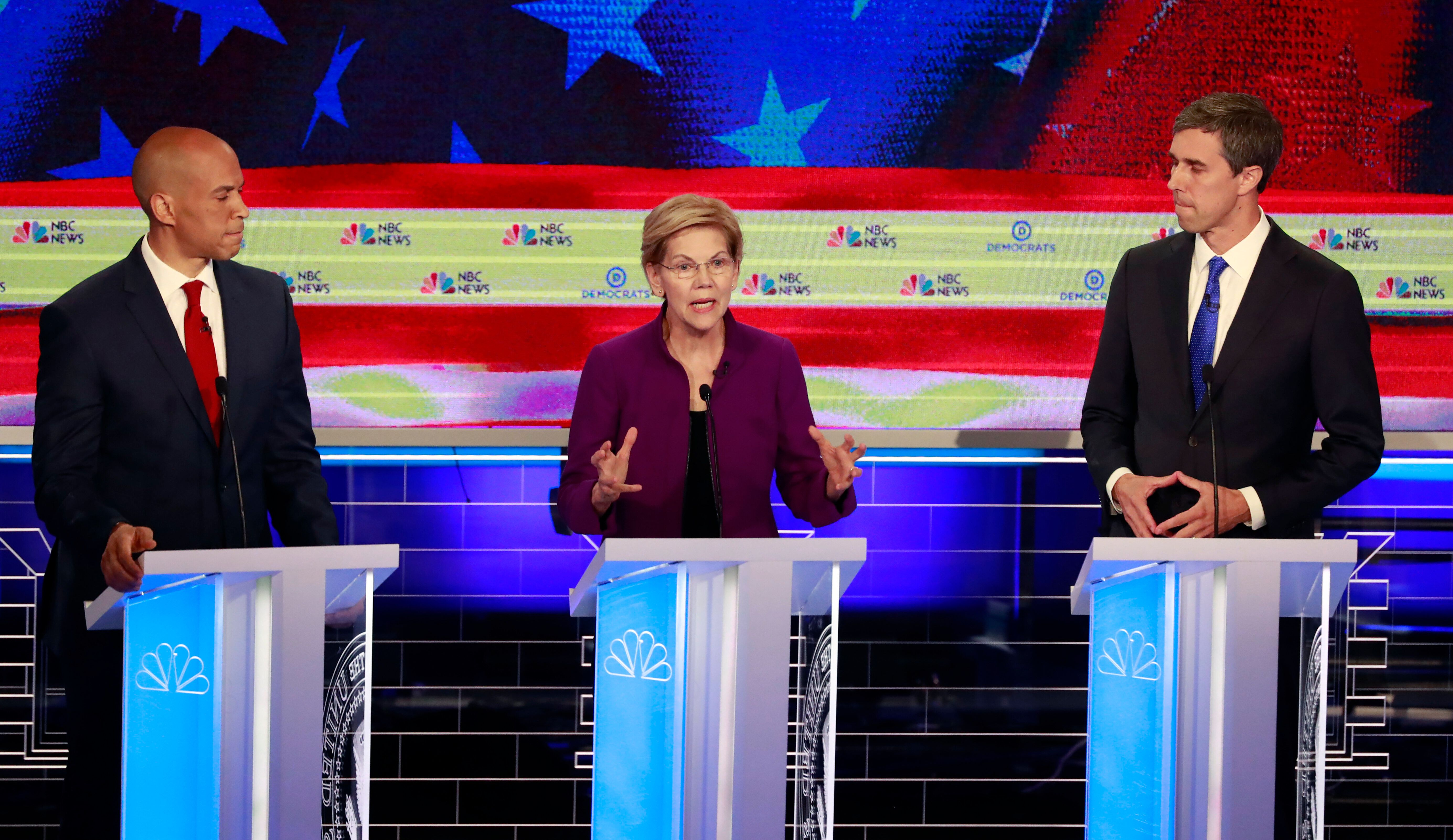 Massachusetts Sen. Elizabeth Warren got through the first presidential debate without facing any direct attacks.