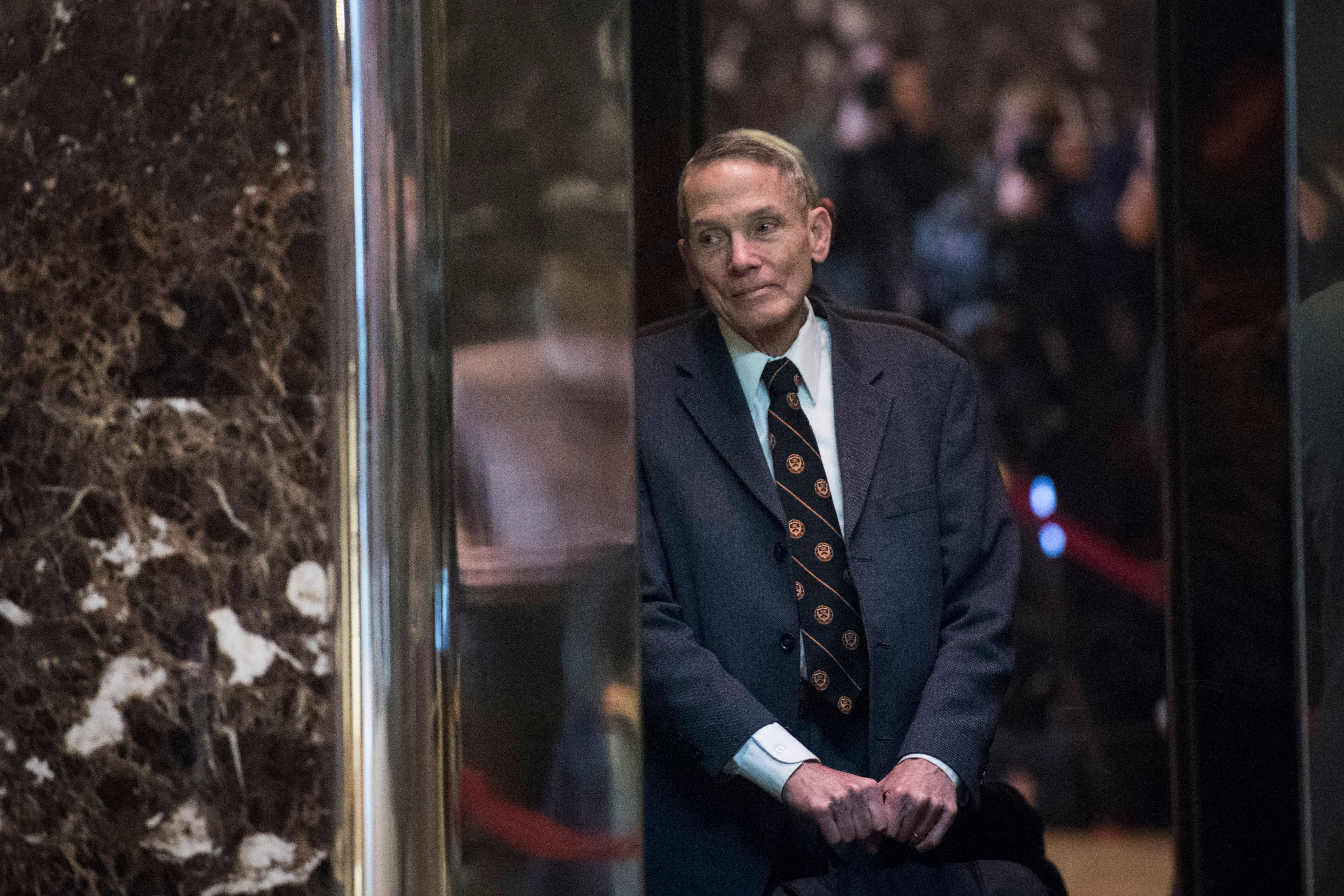 William Happer in the lobby of Trump Tower in Manhattan on Jan. 13, 2017. The retired physicist is leading a White House effo