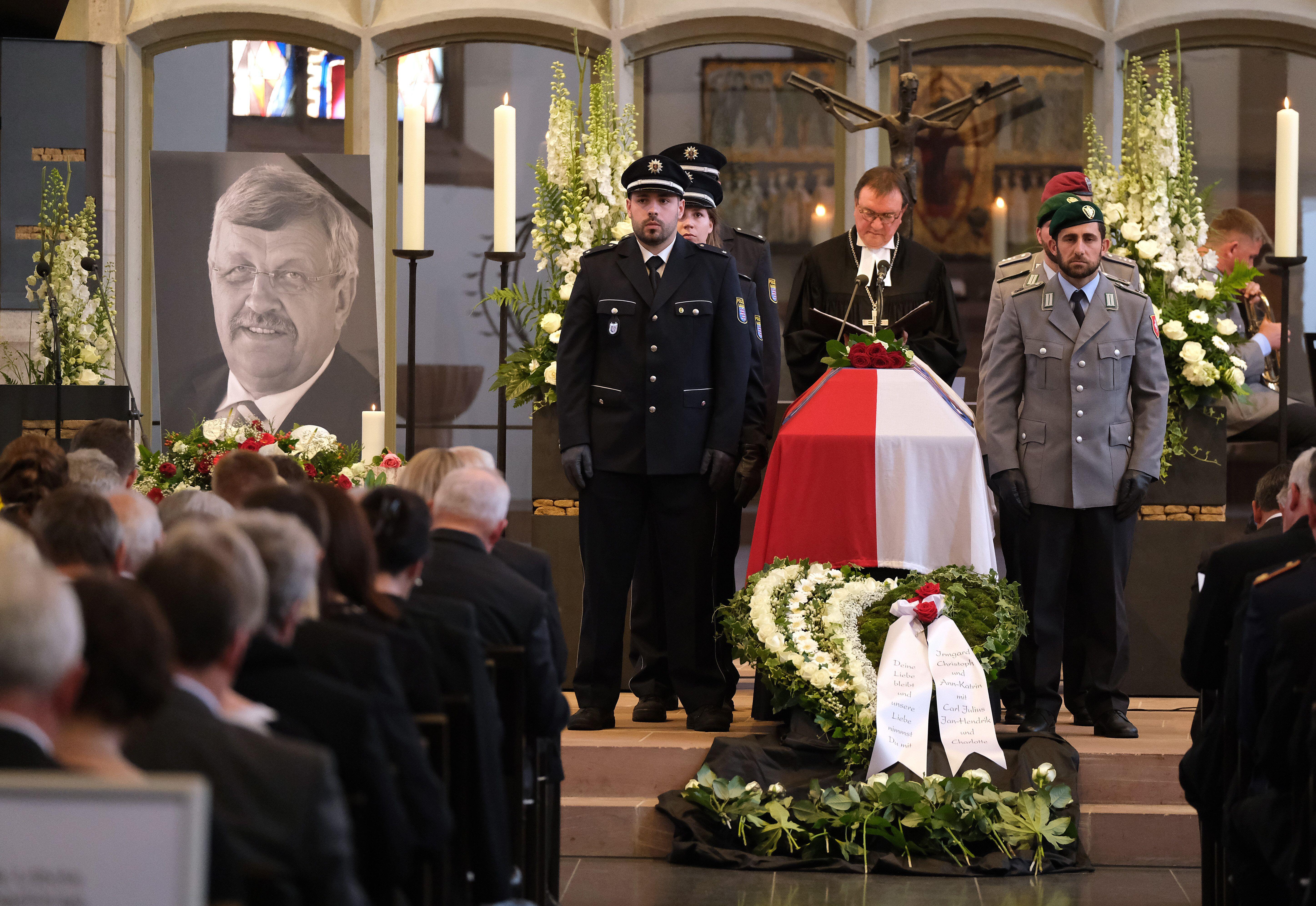 Bishop Martin Hein speaks during a memorial service for murdered German politician Walter Lübcke on June 13, 2019, in Ka