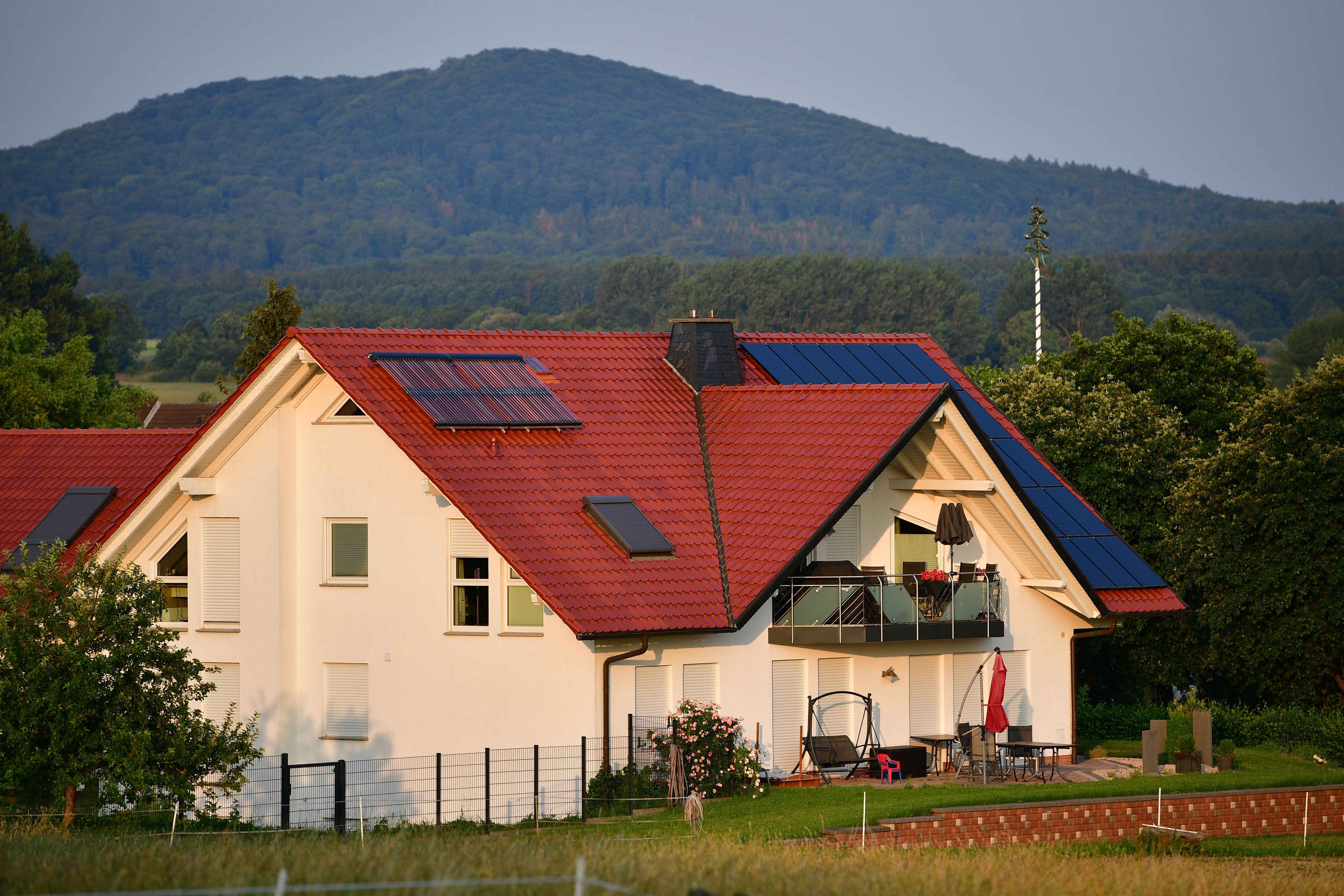 The residence of murdered German politician Walter Lübcke is seen on June 26, 2019, near Kassel, Germany.
