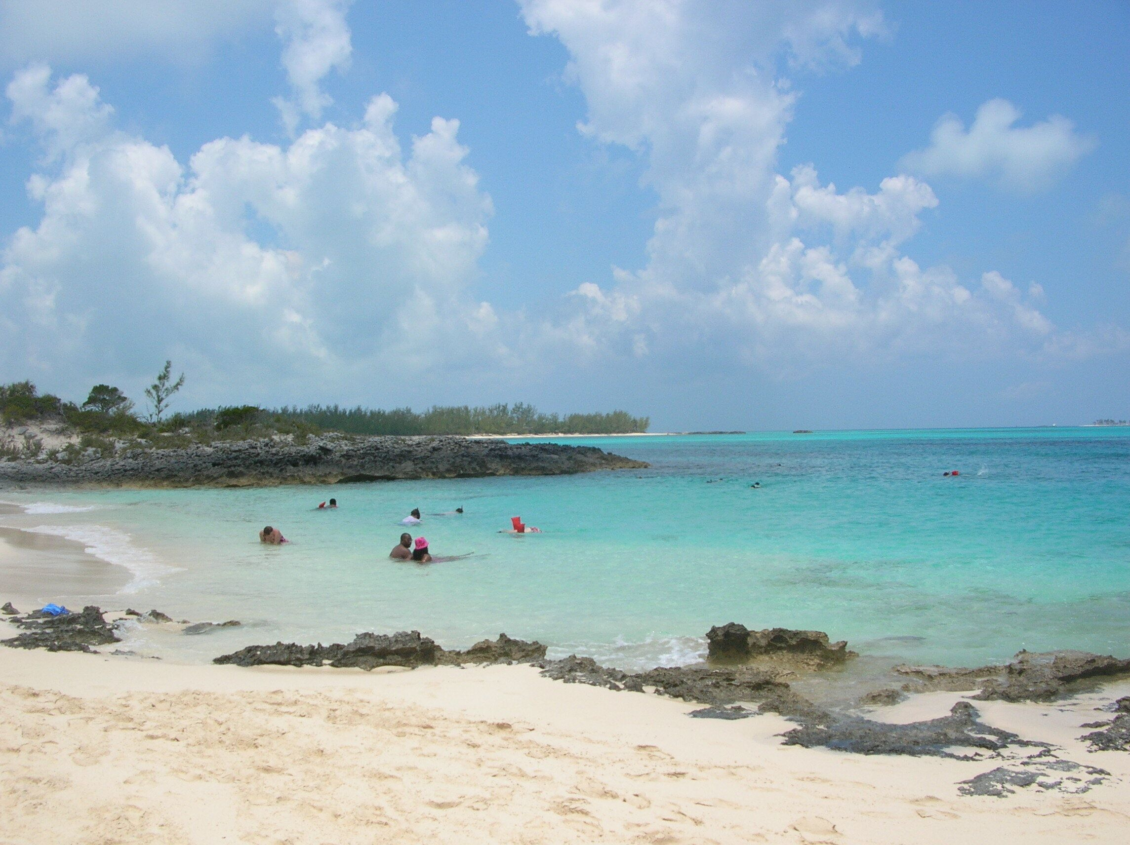 A 21-year-old woman has died after she was attacked by several sharks while snorkeling near Rose Island, pictured, in the Bah