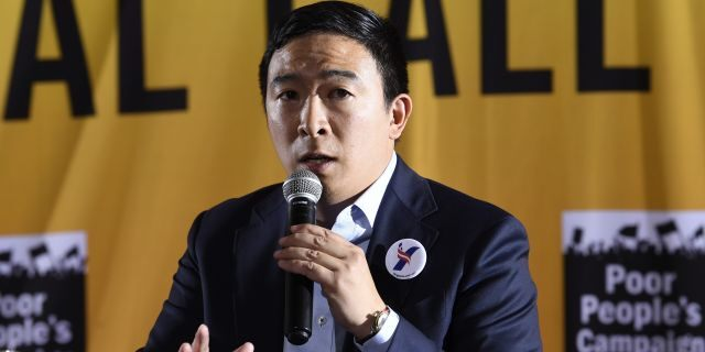 Democratic presidential candidate Andrew Yang speaks at the Poor People's Moral Action Congress presidential forum in Washington, Monday, June 17, 2019. (AP Photo/Susan Walsh)