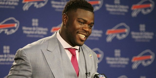 FILE - In this April 29, 2016 file photo, Buffalo Bills first round NFL football draft pick Shaq Lawson speaks at a media conference at the team facilities in Orchard Park, N.Y. Lawson says he will pay for the funeral of an 11-year-old South Carolina girl who died after someone fired more than 35 shots at her home. (AP Photo/Bill Wippert, File)