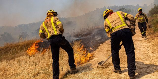 Firefighters try to extinguish a wildfire in Palma d'Ebre, near Tarragona, Spain, Thursday, June 27, 2019. Authorities suspect the cause of the outbreak was a deposit of improperly store(AP Photo/Jordi Borras)
