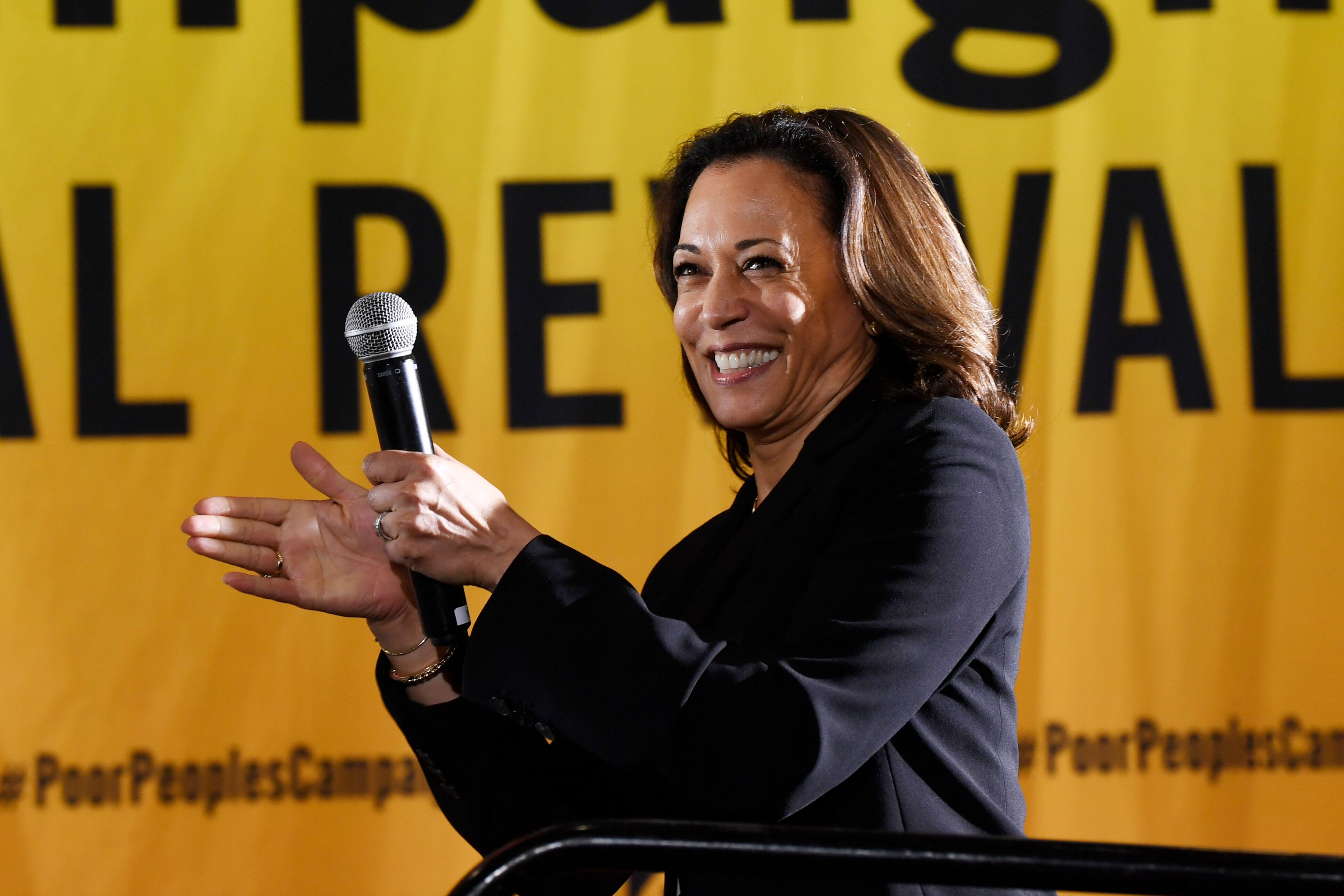 California Sen. Kamala Harris sued Wells Fargo when she was the state's attorney general. Now, she's raising money with one o