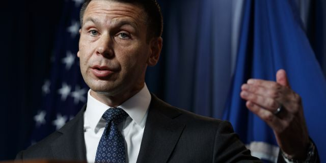 Department of Homeland Security (DHS) acting Secretary Kevin McAleenan speaks during a news conference in Washington, Friday, June 28, 2019. (AP Photo/Carolyn Kaster)