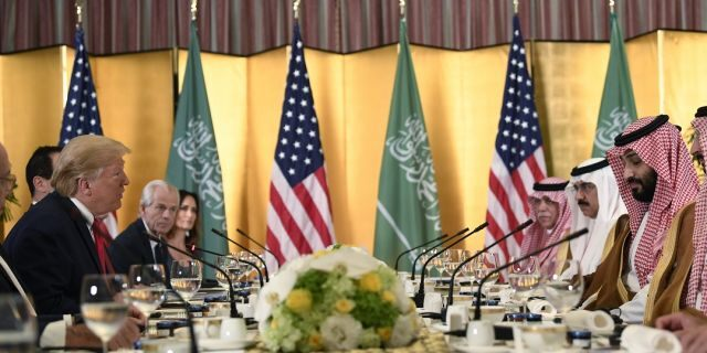 President Donald Trump meets with Saudi Arabia Crown Prince Mohammed bin Salman during a working breakfast on the sidelines of the G-20 summit in Osaka, Japan, Saturday, June 29, 2019. (Associated Press)