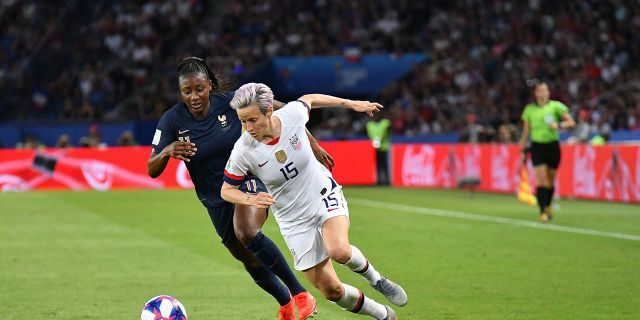 Megan Rapinoe (USA) in action during the quarter-final between FRANCE vs USA in the 2019 women's football World cup at Parc des Princes in Paris, on the 28 June 2019.(Photo by Julien Mattia/NurPhoto via Getty Images)
