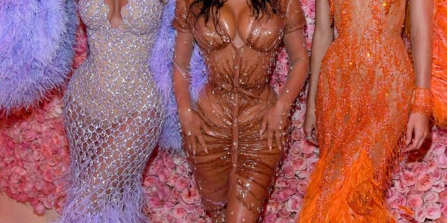 Kylie Jenner, Kim Kardashian West, and Kendall Jenner attend the 2019 Met Gala in New York City. (Photo by Kevin Mazur/MG19/Getty Images for The Met Museum/Vogue)