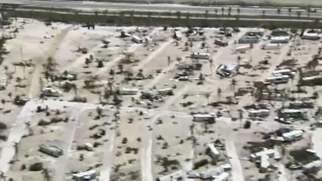 Navy helicopter captures scope of Irma's destruction