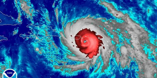 This photo, from NOAA, shows Hurricane Maria at its strongest on Sept. 20, 2017.