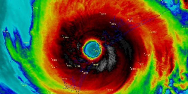 The eye of Hurricane Harvey can be seen as it makes landfall near Rockport, Texas in August 2017.