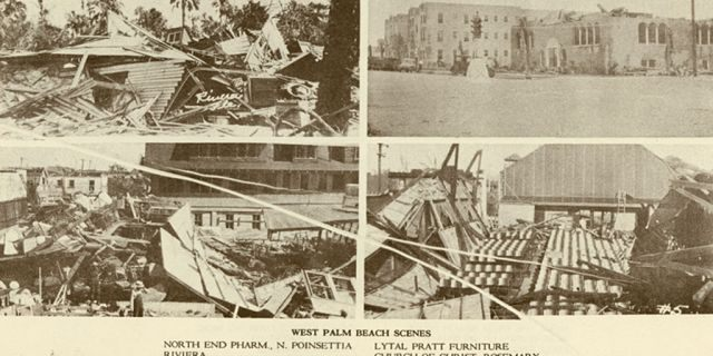 Damage from the Okeechobee Hurricane in West Palm Beach, Florida.