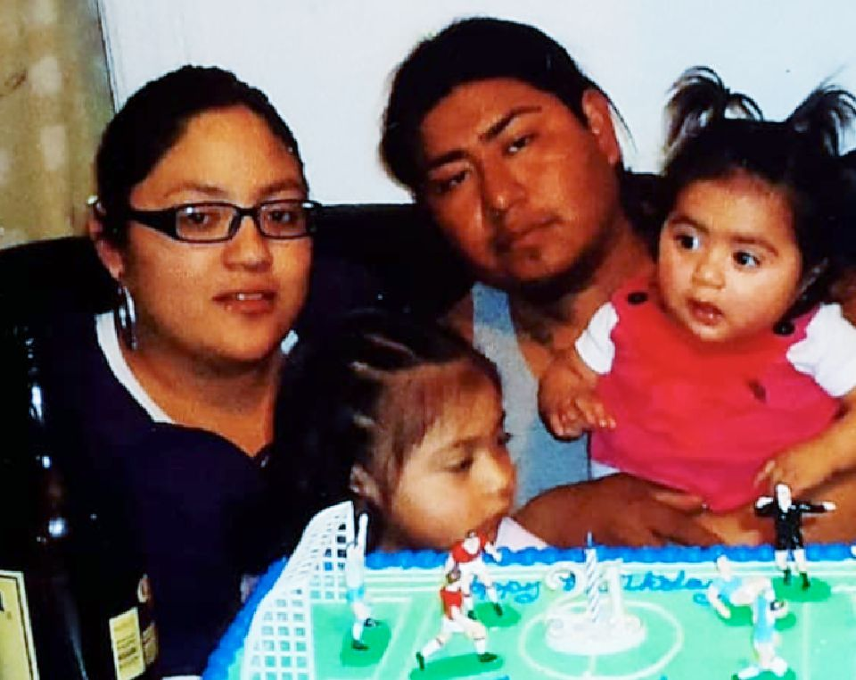 Norma Morales' son with his wife and two daughters, before he was deported from the U.S.