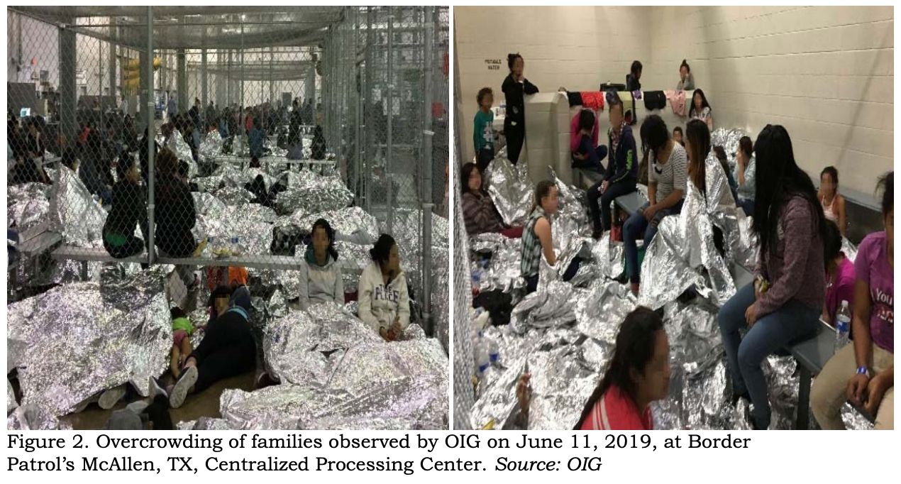 Inspectors observed families crowded into the Border Patrol's McAllen, Texas, station on June 10.