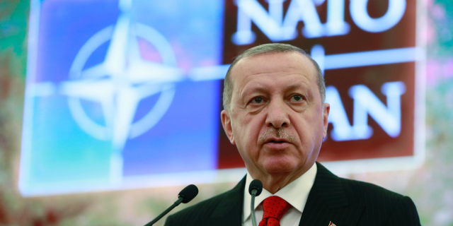 Turkey's President Recep Tayyip Erdogan addresses a meeting of the NATO's Mediterranean Dialogue, in Ankara, Turkey, Monday, May 6, 2019. (Presidential Press Service via AP, Pool)