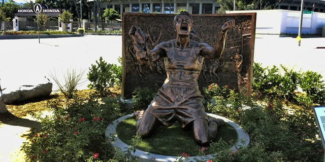 A statue capturing Brandi Chastain's iconic reaction to scoring the U.S. team's winning goal in the 1999 Women's World Cup, is shown after being unveiled outside the Rose Bowl in Pasadena, Calif., Wednesday, July 10, 2019. (AP Photo/John Antczak)