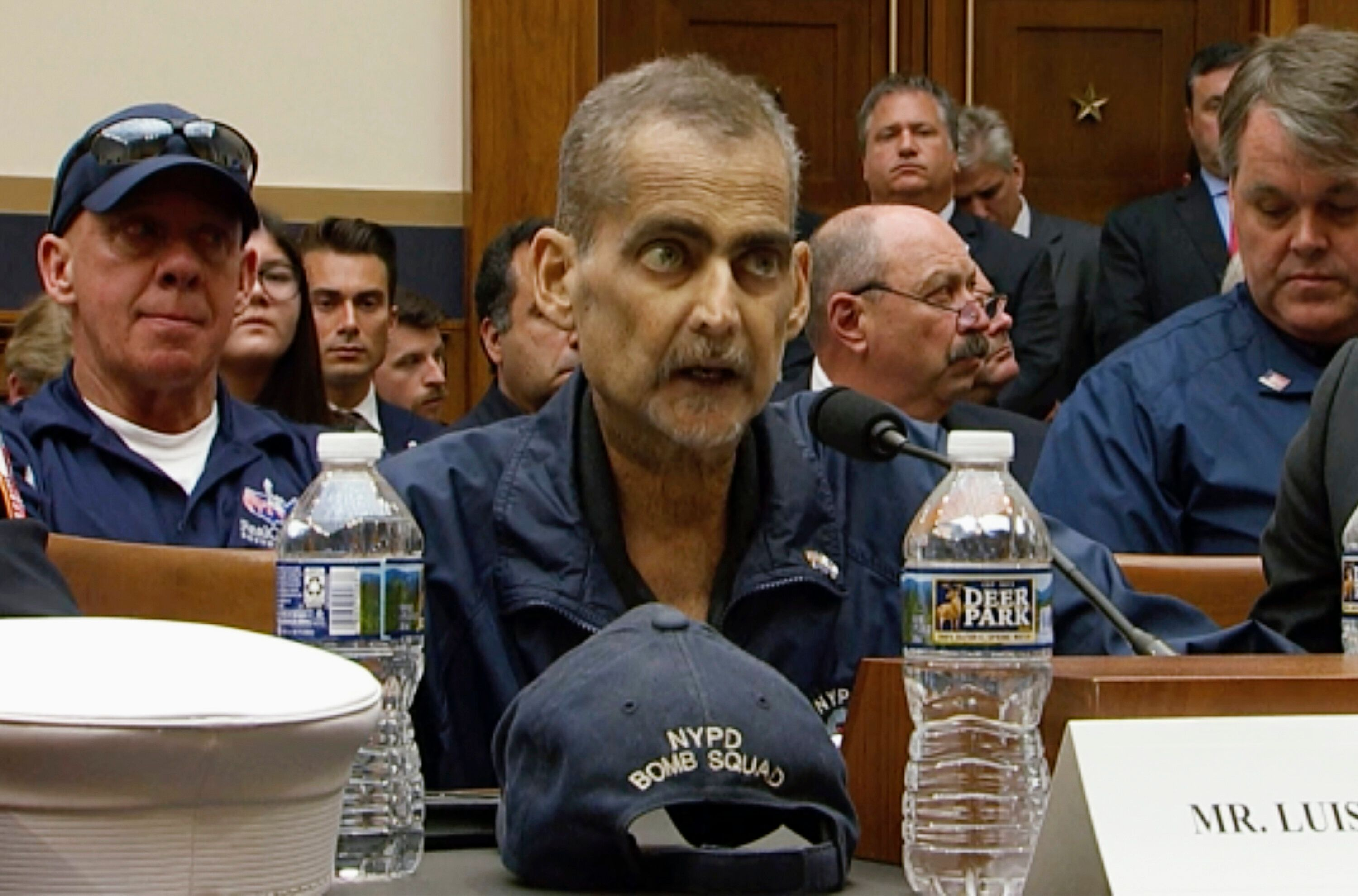 Retired New York police detective and 9/11 responder Luis Alvarez testifies during a House Judiciary Committee hearing a