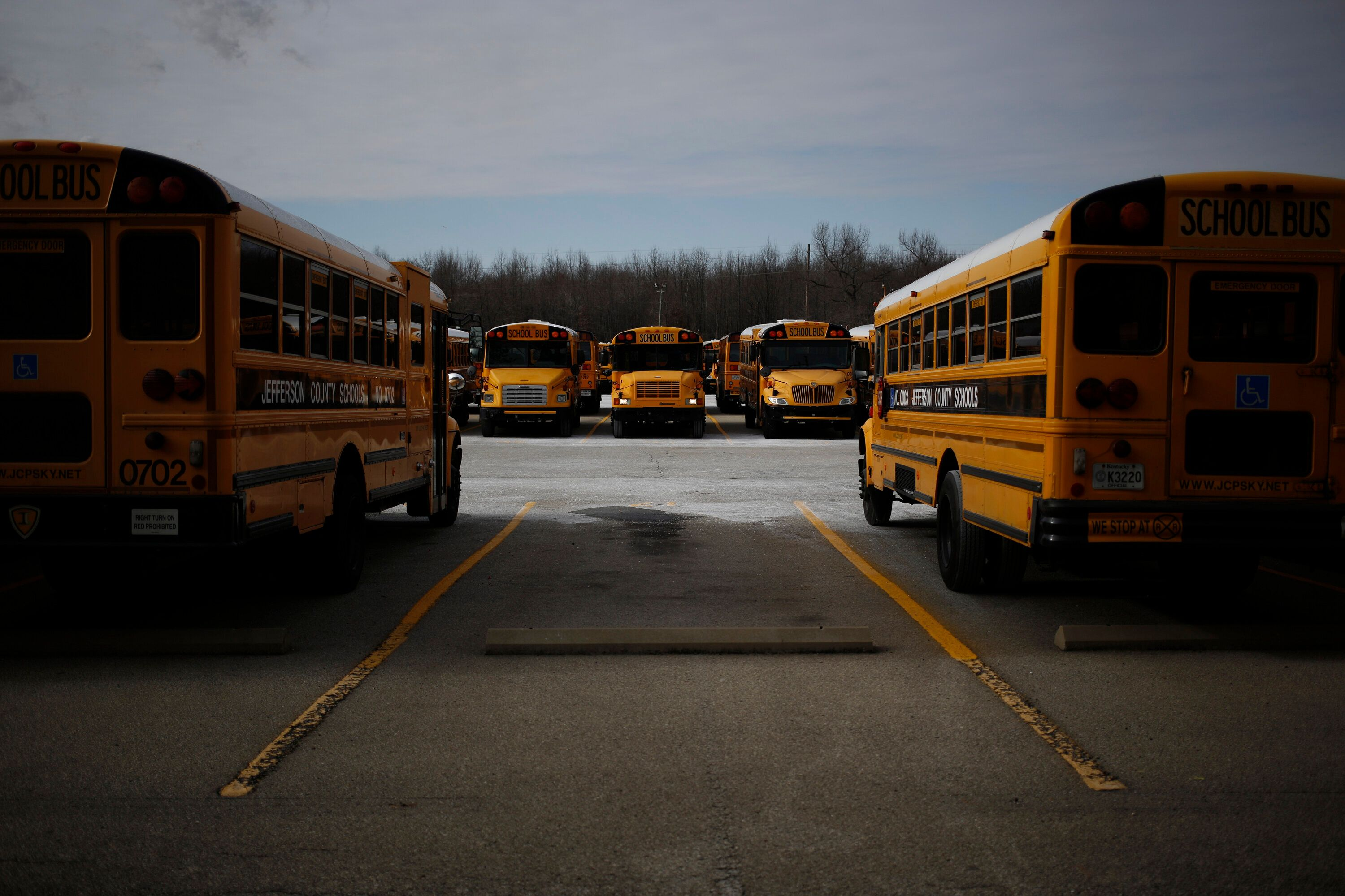School buses at a compound for the Jefferson County Public Schools.