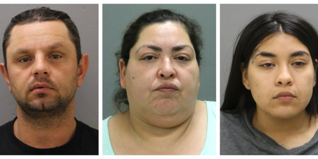 This combination of booking photos provided by the Chicago Police Department on Thursday, May 16, 2019 shows from left, Pioter Bobak, 40; Clarisa Figueroa, 46; and Desiree Figueroa, 24. Clarisa Figueroa and her 24-year-old daughter, Desiree Figueroa, have been charged with murder in Ochoa-Lopez's death. Clarisa Figueroa's boyfriend, Piotr Bobak, is charged with concealing a homicide.
