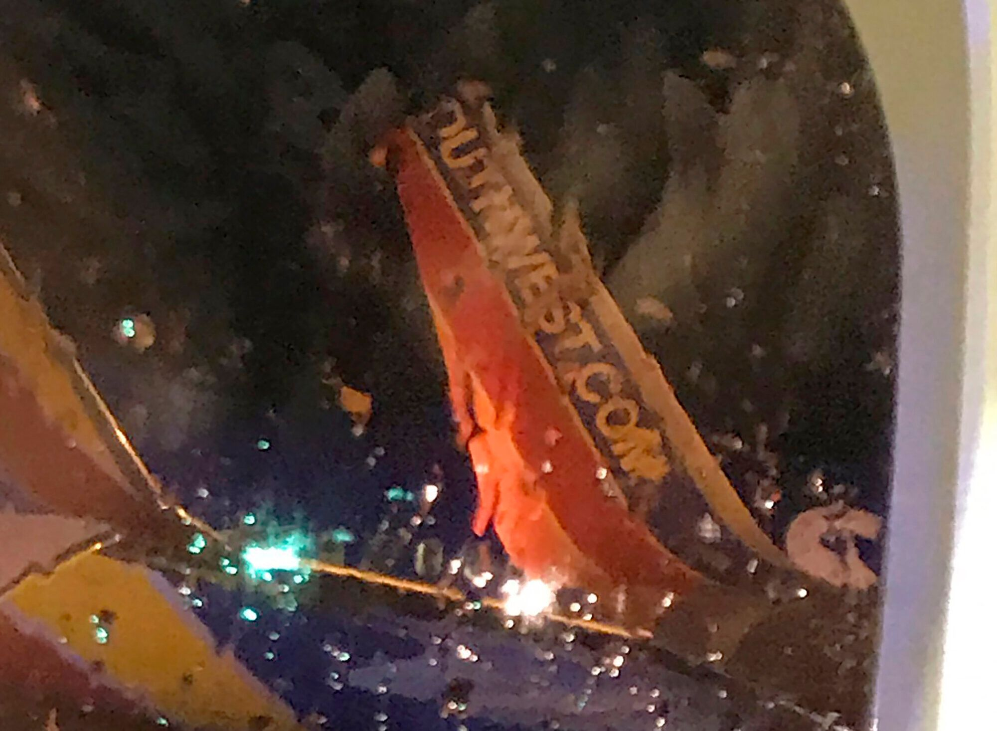 This photo taken by a passenger onboard a Southwest Airlines flight to Atlanta on Saturday appears to show the damage sustain