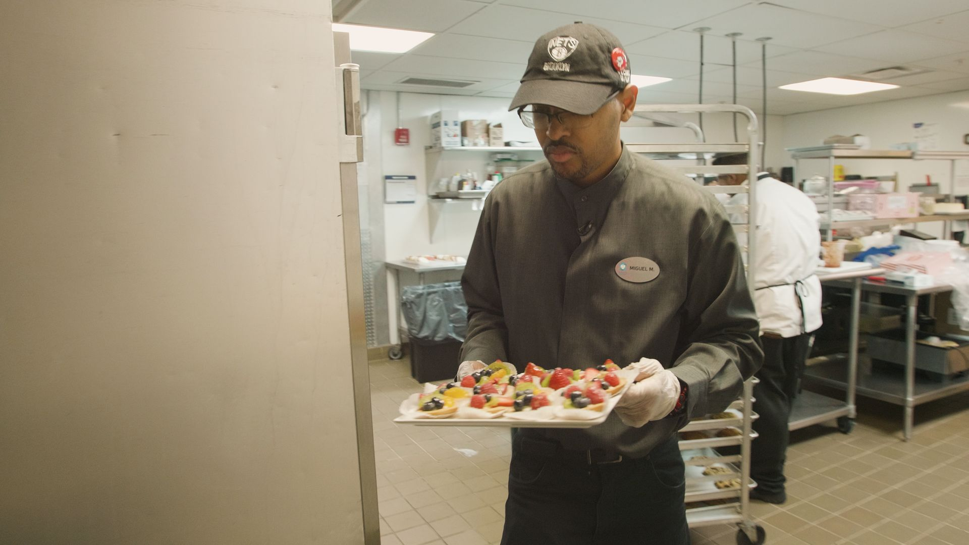 Mondesir busy working a shift at Barclays Center.