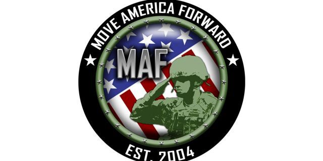 The logo for Move America Forward, a veterans' charity that says it's donated over 450 tons in care packages to active-duty troops.