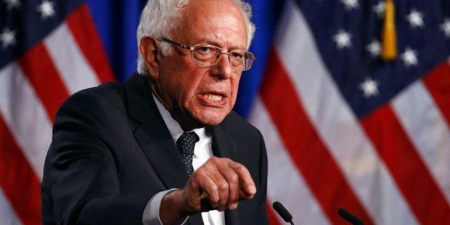 Sen. Bernie Sanders, I-Vt., speaks at George Washington University in Washington.