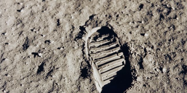 Buzz Aldrin's footprint on the lunar surface. (NASA)