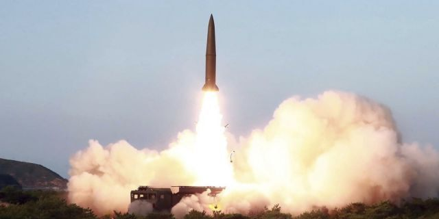 """This Thursday, July 25, 2019, photo provided on Friday, July 26, 2019, by the North Korean government shows a test of a missile launch in North Korea. A day after two North Korean missile launches rattled Asia, the nation announced Friday that its leader Kim Jong Un supervised a test of a new-type tactical guided weapon that was meant to be a """"solemn warning"""" about South Korean weapons introduction and its rival's plans to hold military exercises with the United States. Independent journalists were not given access to cover the event depicted in this image distributed by the North Korean government. The content of this image is as provided and cannot be independently verified."""