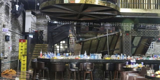 A collapsed internal balcony is seen at a nightclub in Gwangju, South Korea, Saturday, July 27, 2019. Members of the U.S. national water polo team were in a South Korean nightclub on Saturday when an internal balcony collapsed, killing at least two people. (Associated Press)