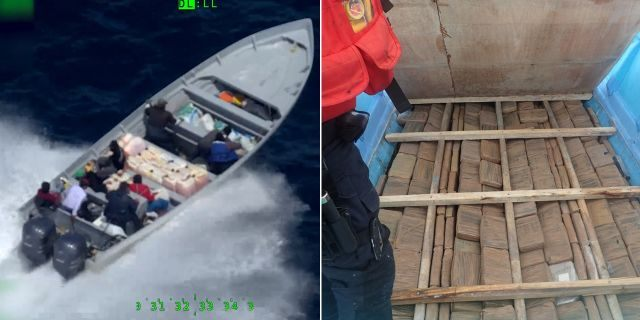 On the left, Crewmembers from the Coast Guard Cutter Steadfast interdict a go fast vessel in international waters of the eastern Pacific Ocean on July 18, 2019.On the right, crew members uncover a compartment concealing multiple bales of cocaine beneath the floorboard of a panga interdicted June 30, 2019, while patrolling international waters of the Eastern Pacific Ocean.