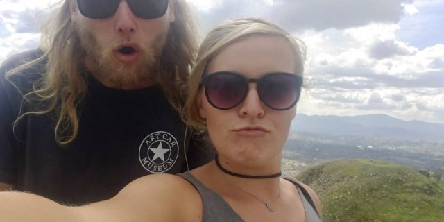 23-year-old Australian Lucas Fowler, left, and 24-year-old American girlfriend Chynna Deese poses for a selfie.