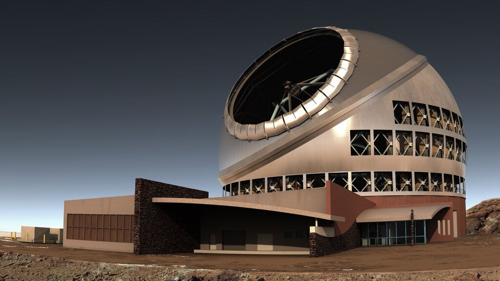 TMT International Observatory created this rendering of the telescope and its observatory.