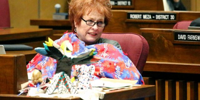 Arizona State Sen. Sylvia Allen, pictured here during a legislative session in May 2018, is apologizing while defending herself from criticism for comments she made on immigration and birth rates.