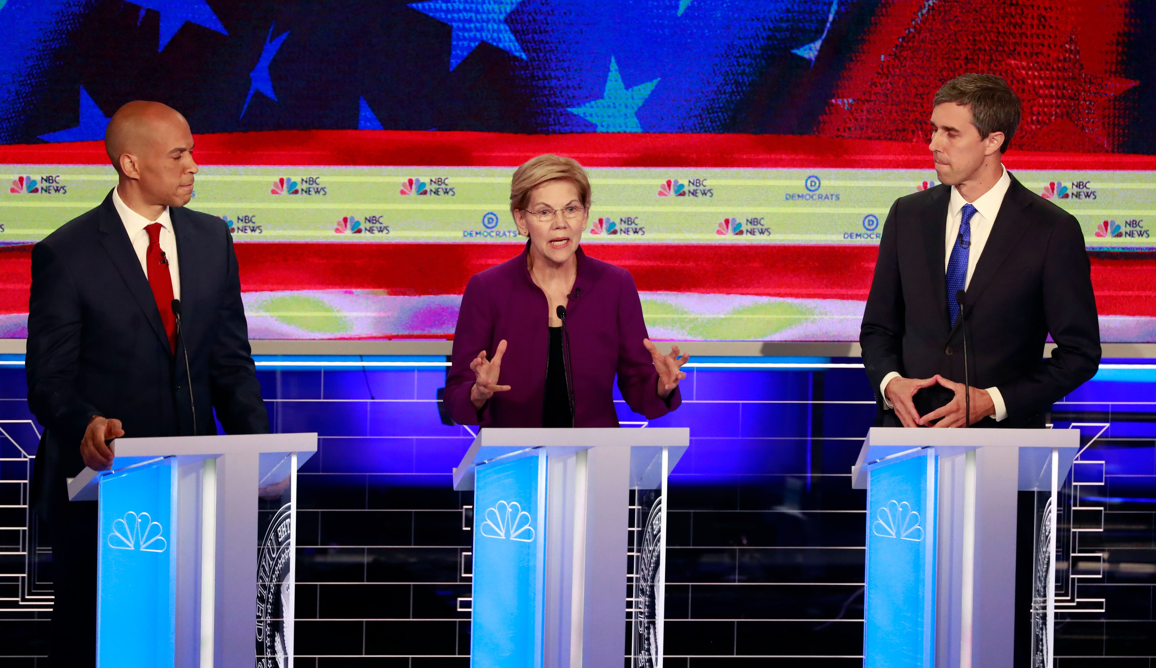 Cory Booker, Elizabeth Warren and Beto O'Rourke on June 26, the first night of the first Democratic presidential debate.