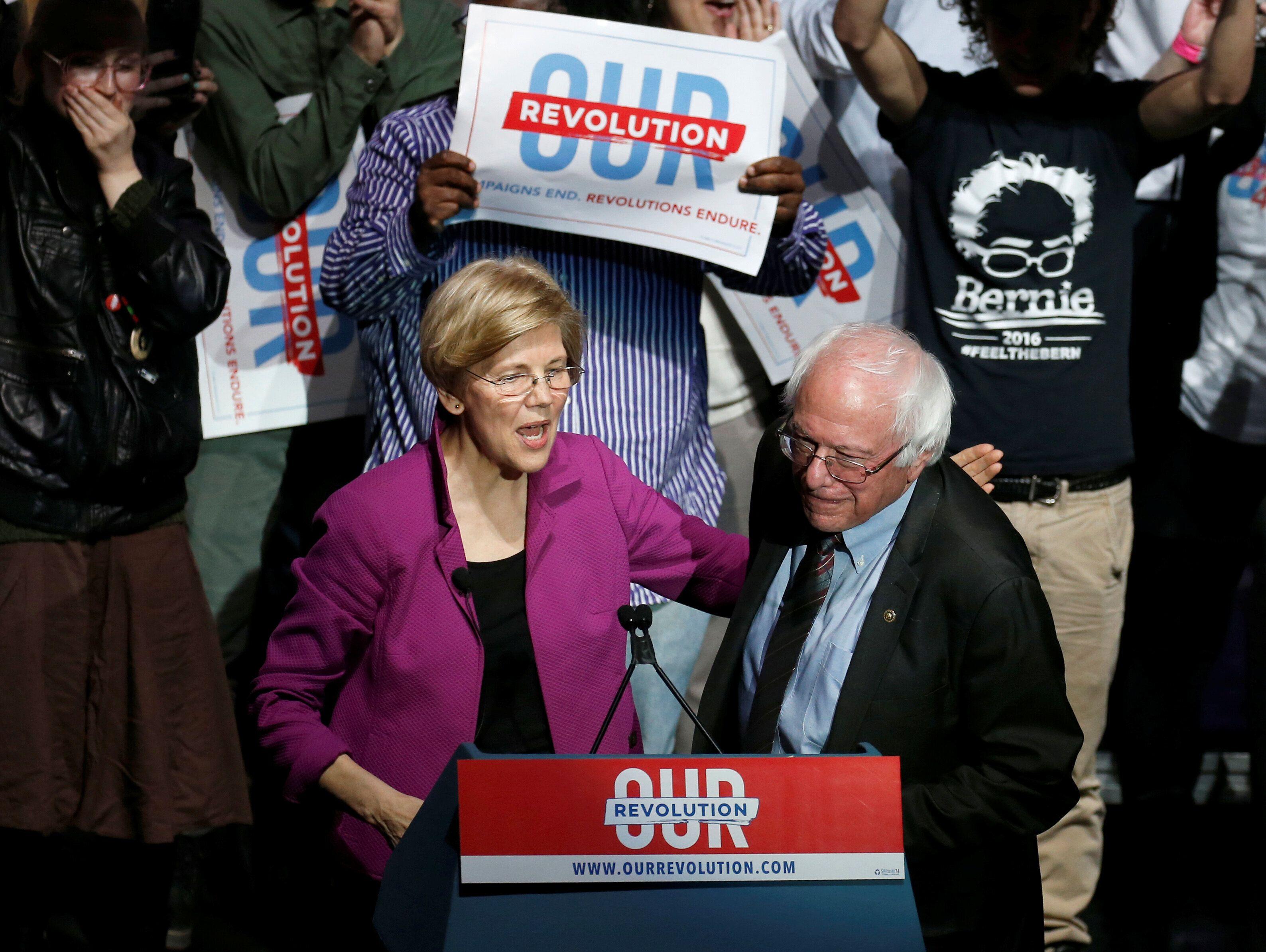 Sen. Elizabeth Warren (D-Mass.) and Sen. Bernie Sanders (I-Vt.), both contenders for the 2020 Democratic presidential nominat