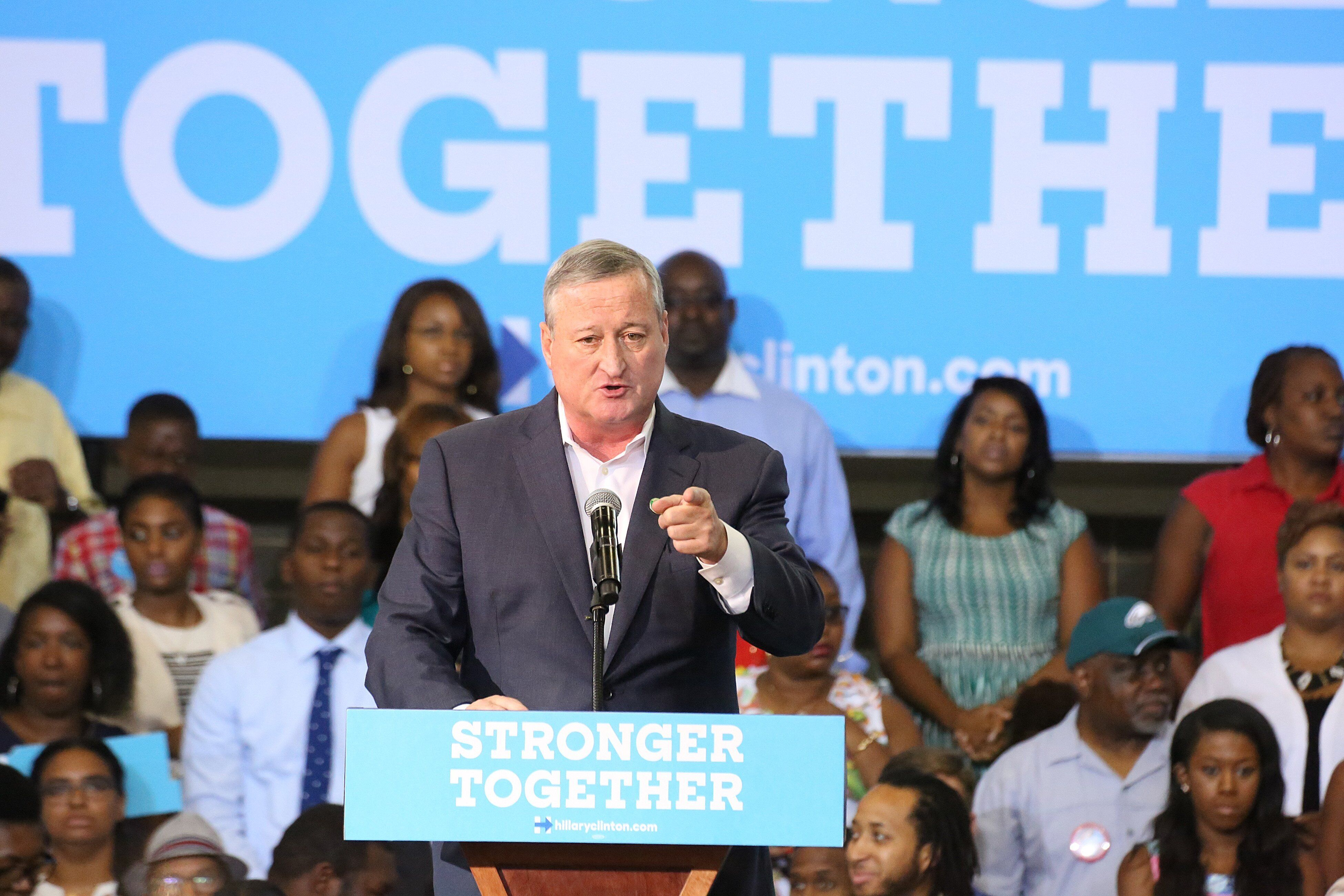 Philadelphia Mayor Jim Kenney (D) campaigns for Hillary Clinton in August 2016. Bernie Sanders' opposition to a soda tax in t